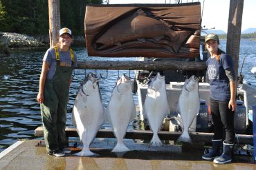 The girls with a row of halibut
