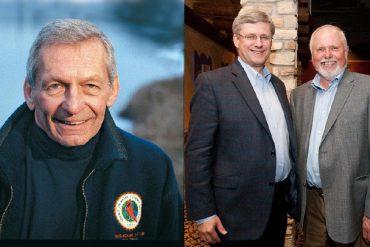 At odds: Scientist David Schindler (left) and MP Robert Sopuck with former PM Stephen Harper.