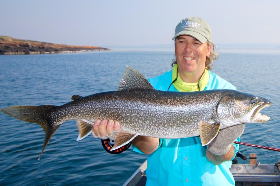 Even powerful fish like lake trout can't out-fight a fly rod, when it's used correctly. Credit: Scott Gardner.