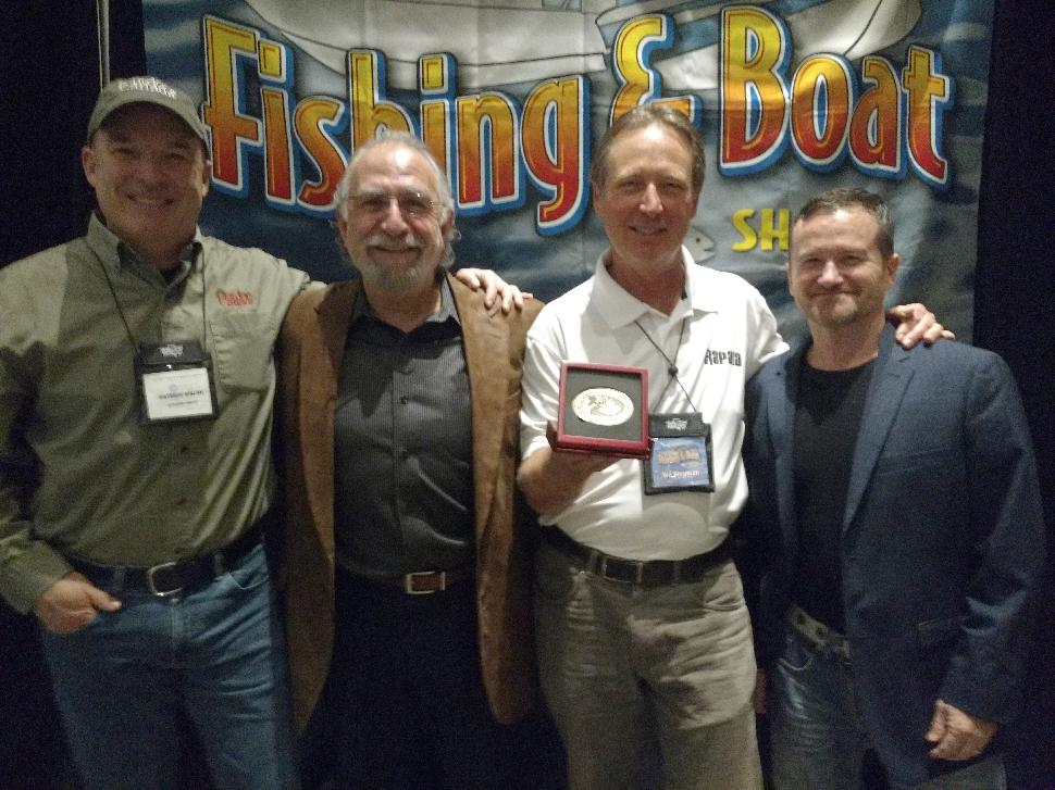This year's inductee into the Canadian Angler Hall of Fame, Wil Wegman (2nd right) with (right to left)Fish'n Canada's Pete Bowman and Angelo Viola, and Outdoor Canada's Patrick Walsh