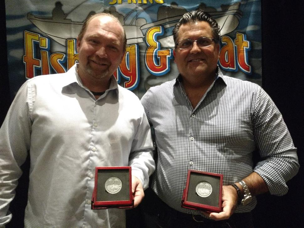 Rick Amsbury Award of Excellencerecipients Darren Jacko (right) and Steve Voros, the founders of Edu-Cast
