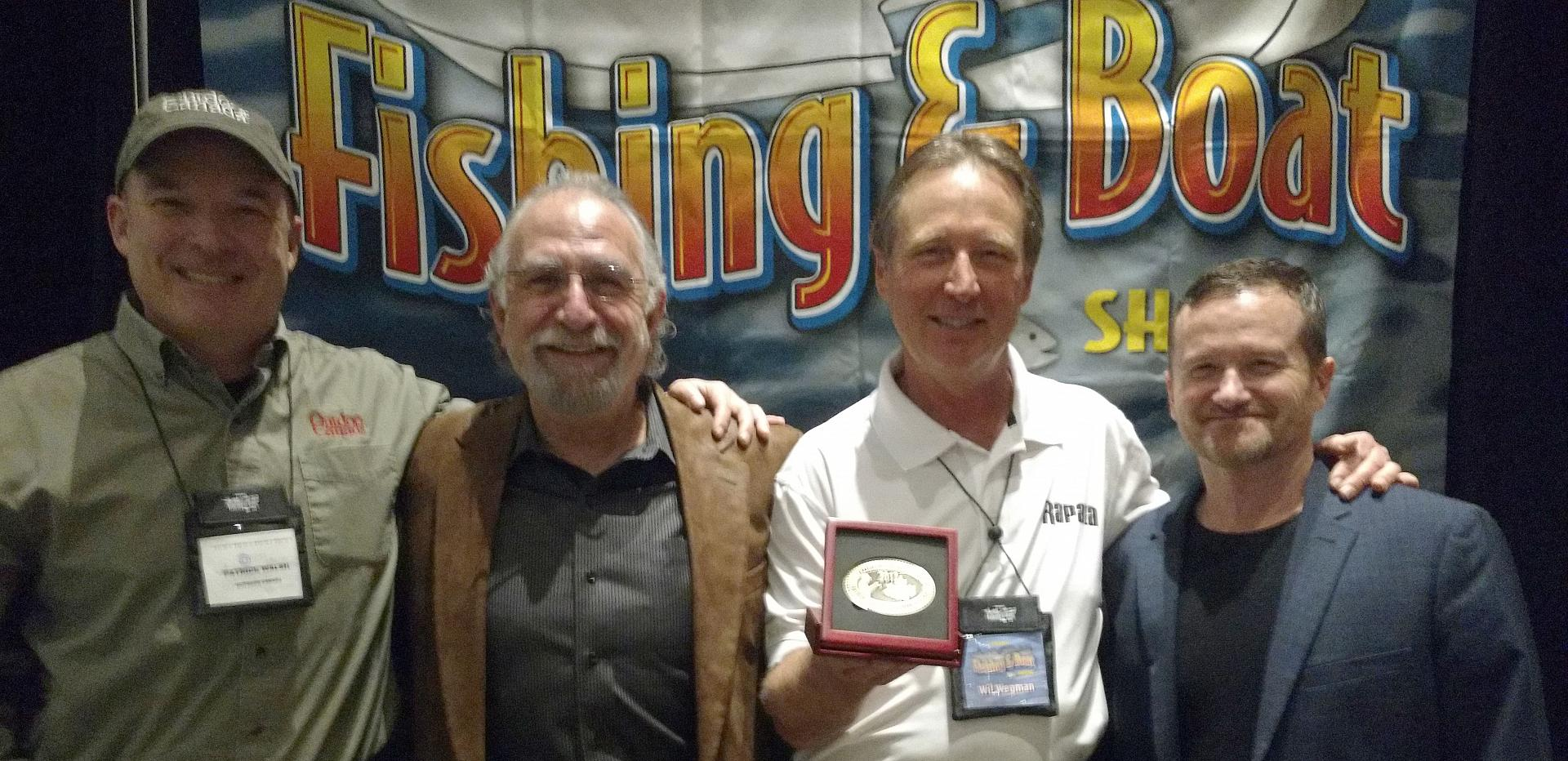 This year's inductee into the Canadian Angler Hall of Fame, Wil Wegman (2nd right) with (right to left) Fish'n Canada's Pete Bowman and Angelo Viola, and Outdoor Canada's Patrick Walsh