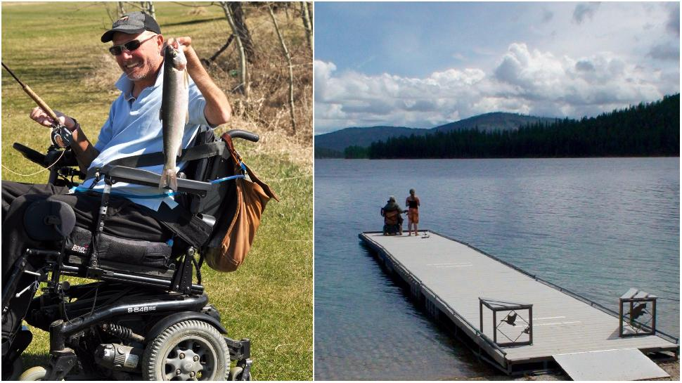 Credit: Kary Wright. The author (left) fishes on an accessible dock.