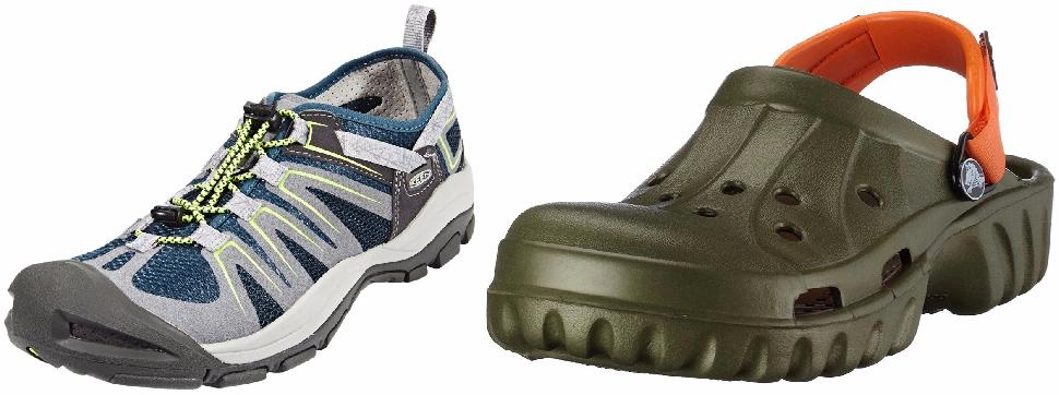 Crocs Offroad Sports Clogs (left) and Keen's McKenzie II (right)