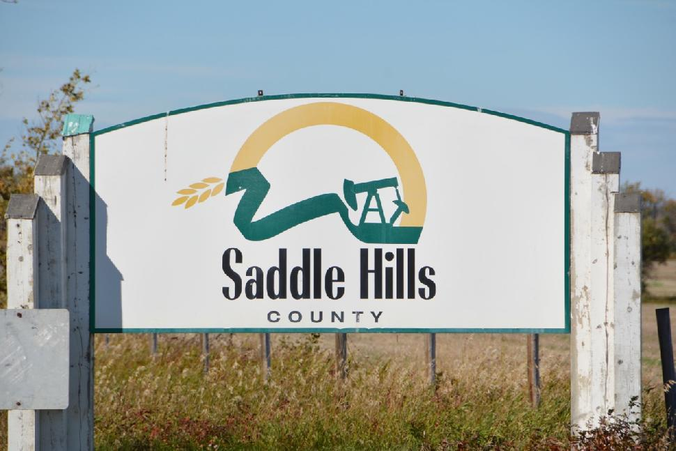 Credit: Ken Bailey. Saddle Hills County welcome sign.
