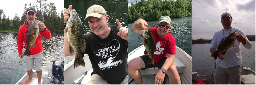 Credit: Beauchêne 2017 crew Beauchêne bass: (left to right) Jon Baker and a big Birch smallie; the author and his first bass of the trip; Gord Browning gets on the board; and Billy Shields hoists a chunky specimen