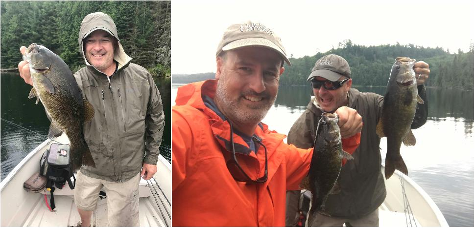 Credit: Jon Baker Devil fish: (left to right) The author and one of several big bass out of Devil Lake; Jon Baker and the author and one of their double-headers