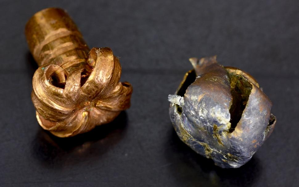 A monolithic bullet stye (left) retains more weight than a soft-point bullet. Credit: Lowell Strauss.