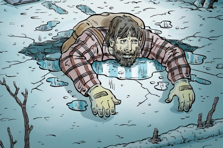 Illustration of a man falling into the frozen lake