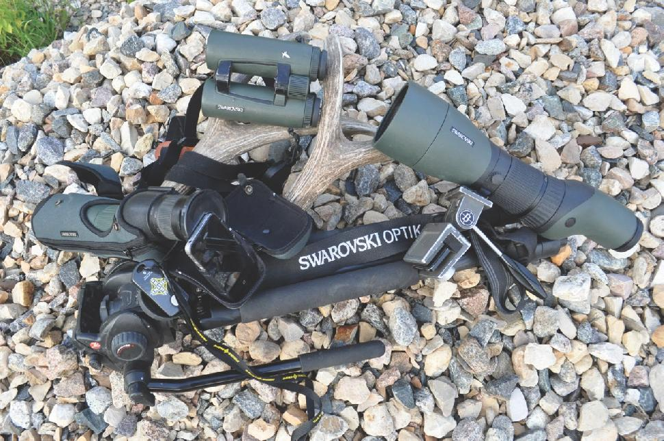 Quality glass is a must for both bow and rifle hunters. The author depends on his Swarovski EL Range 10x binoculars with built-in rangefinder, along with other optics. Credit: Jeff Schlacter.