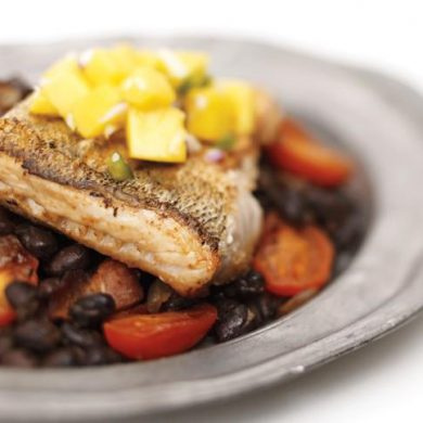 Mango Walleye over Black Beans