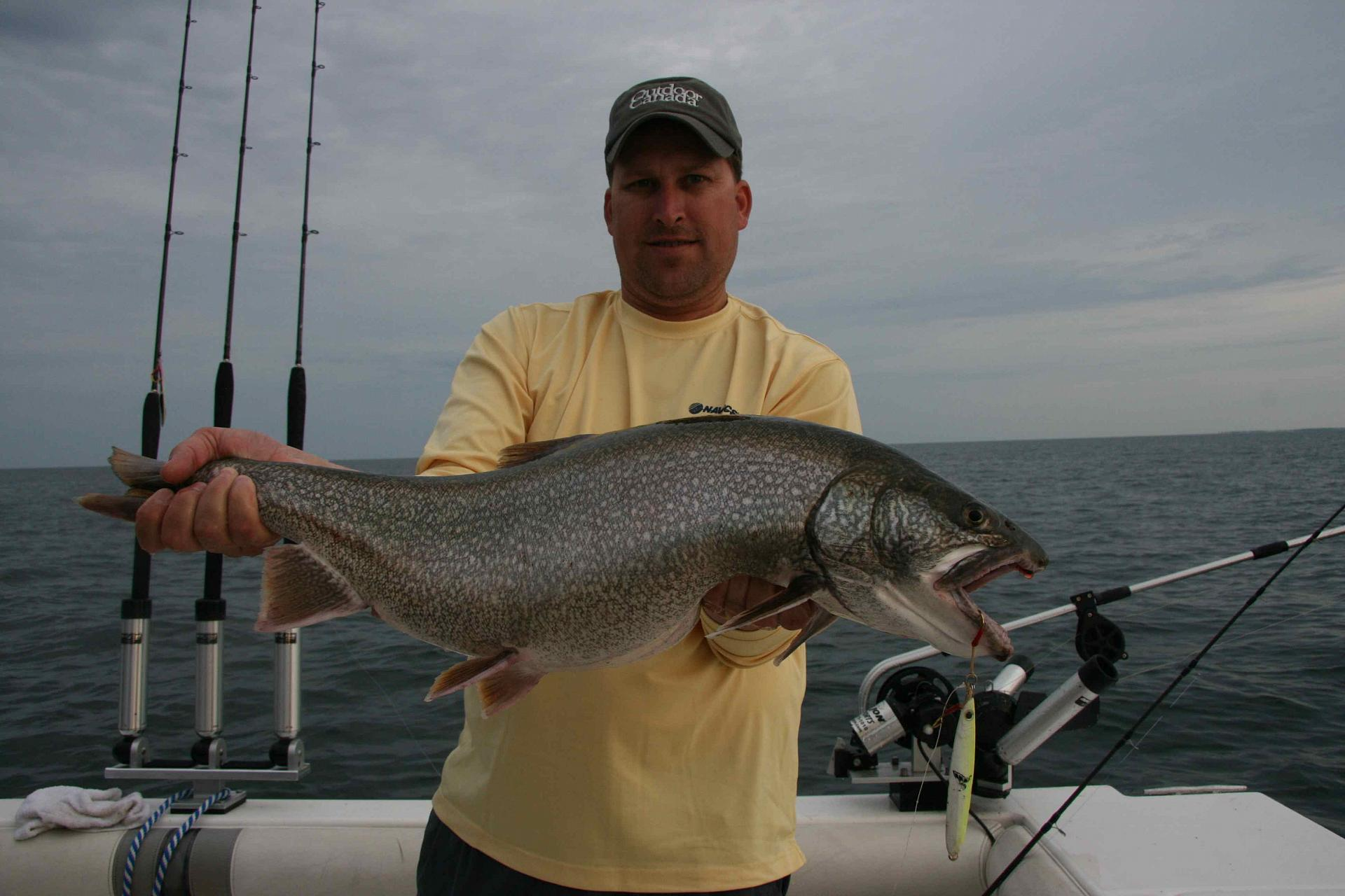 The jig is up: Navionics' Chris Gatley and a 15-pound lake trout that fell for his Shimano Butterfly jig in 140 feet of water