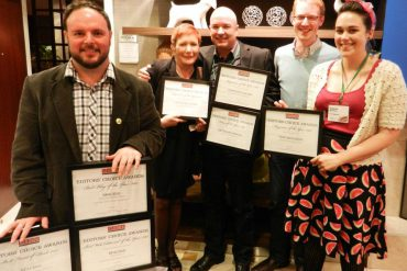 CSME Award winners: Matthew Blackett, publisher and creative director of Spacing; Suan Antonacci, editor-in-chief of Canadian Living; Patrick Walsh, editor of Outdoor Canada; and from This Magazine Graham F. Scott, previous editor; and Lauren McKeon, current editor. Photo courtesy Masthead Online.