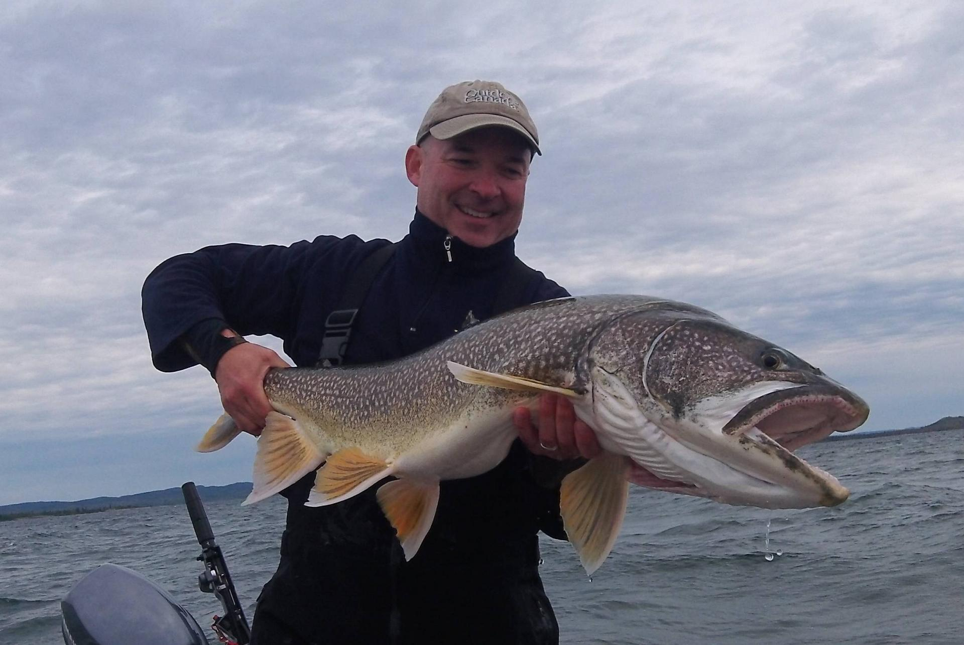 Big fish: My personal best for the day, a 41-inch laker on the fly
