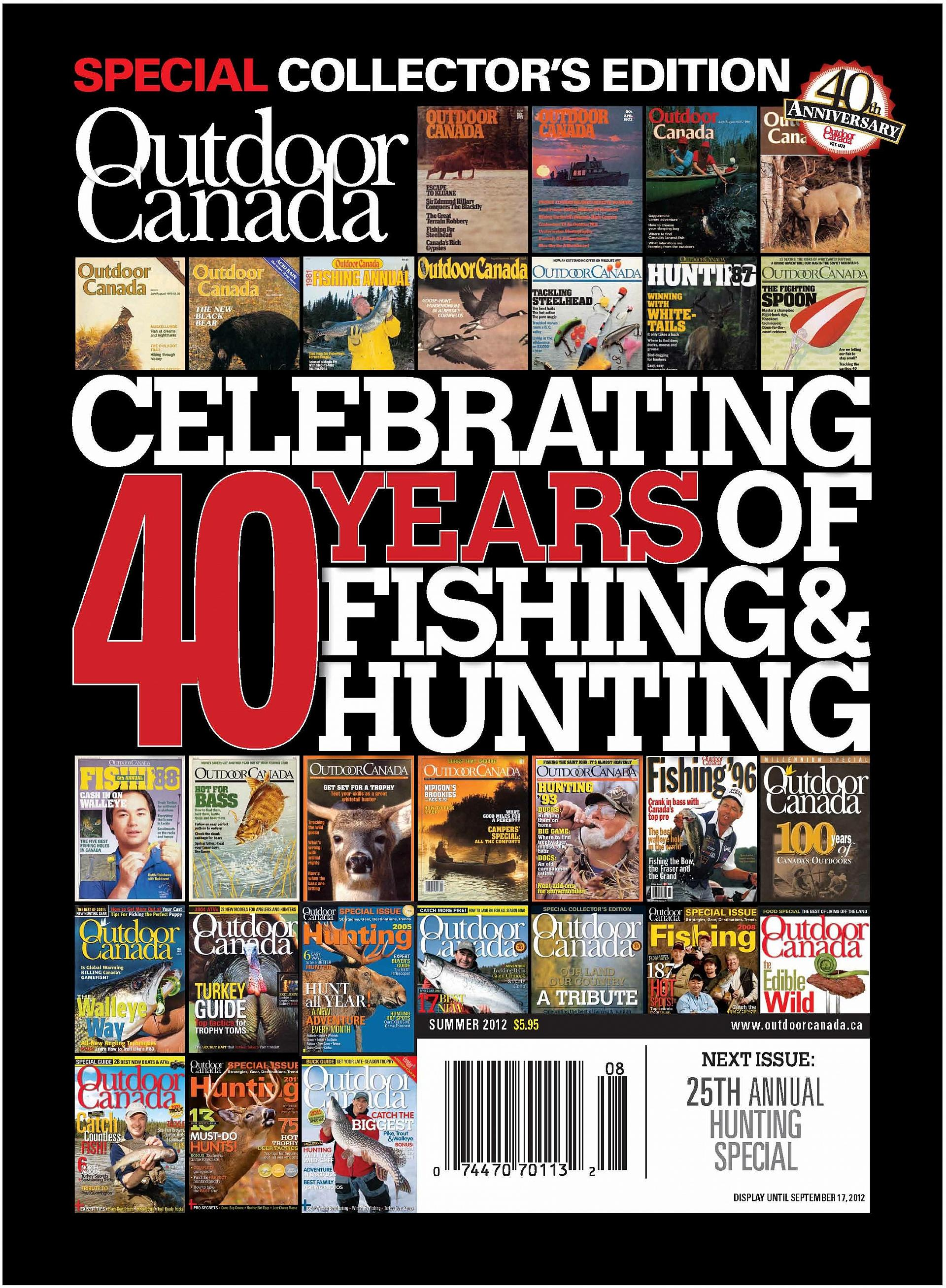 Award contender: Outdoor Canada's Summer 2012 cover story celebrating the magazine's 40th anniversary, has been nominated for a National Magazine Award