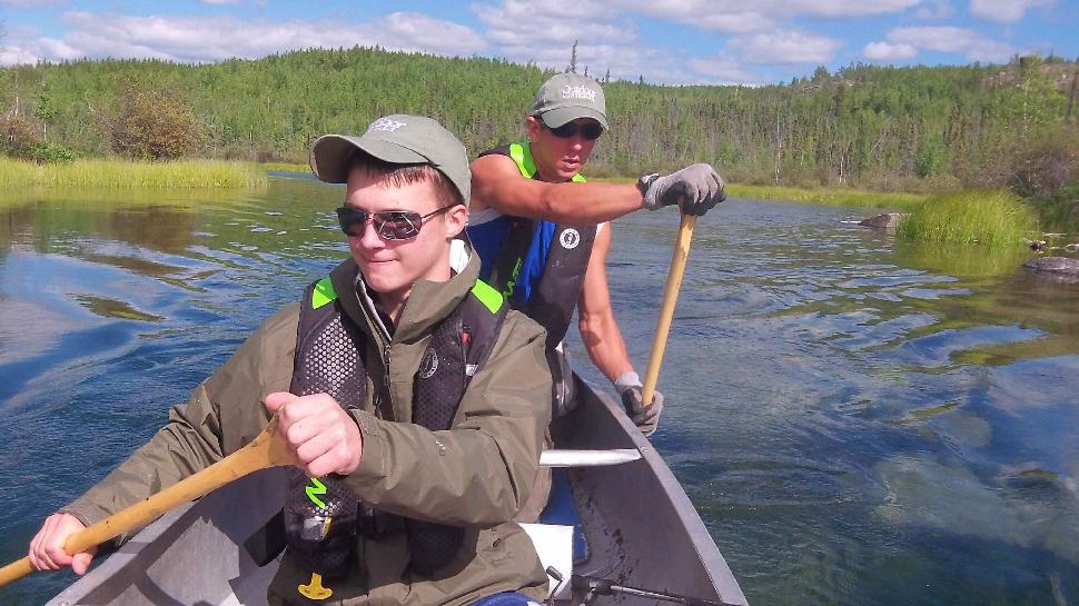 Paddling the wilds: Riley Walsh (front) and guide Garrett Fyfe head down the N.W.T.'s McCrea River