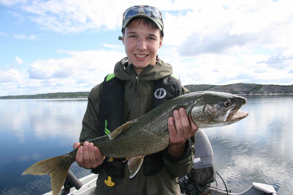 First fish: Riley and our boat's first lake trout of the day