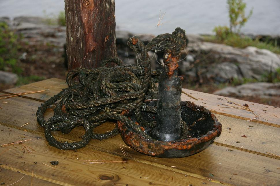 Anchor on! The old anchor I hooked into while scouring Beauchene's bottom for my lost rod