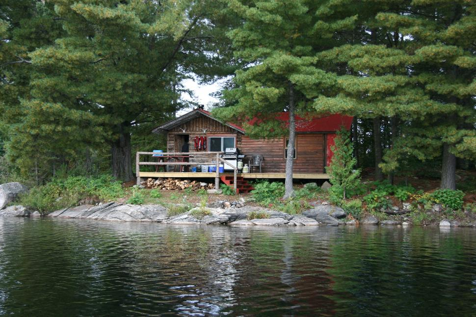 Fish camp: The crew's two-room log cabin on Beauchene's Foley Bay Island