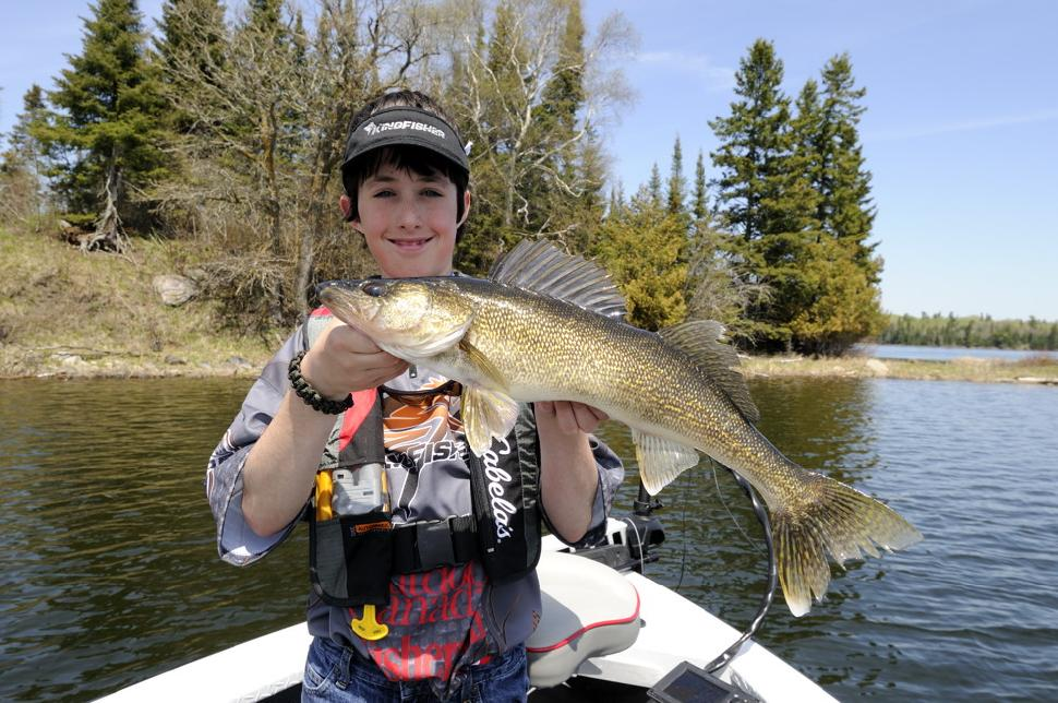Liam with a beautiful fat 5 pound walleye