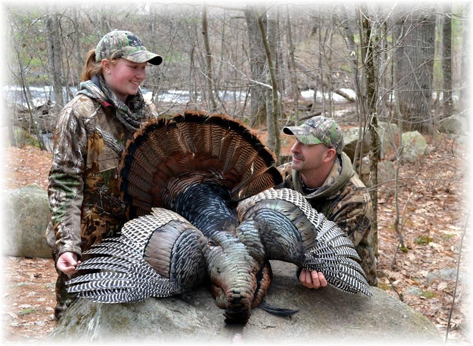 New hunter Jessica Mattinsonand her mentor Jim Westcott at the CWTF Hoot and Shoot annual Wild Turkey Youth Camp in the Spring of 2014