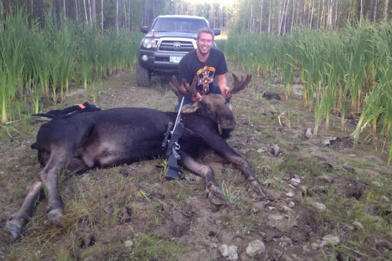 Josh Jensen with a moose