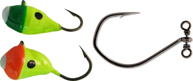 Drop-shotting with Marmooska Jigs (left) or VMC SpinShot hooks (right) is a deadly tactic for trophy walleye.