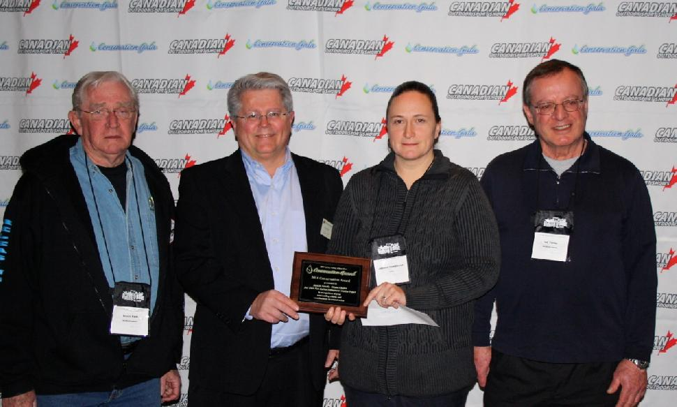 Accepting the Conservation Project of the Year Award are (left to right): Bruce Park and Peter Levick of Muskies Canada; Jennifer Lamoureux, of the Rideau Valley Conservation Authority and Ian Young of Muskies Canada. Credit: Scott Gardner.