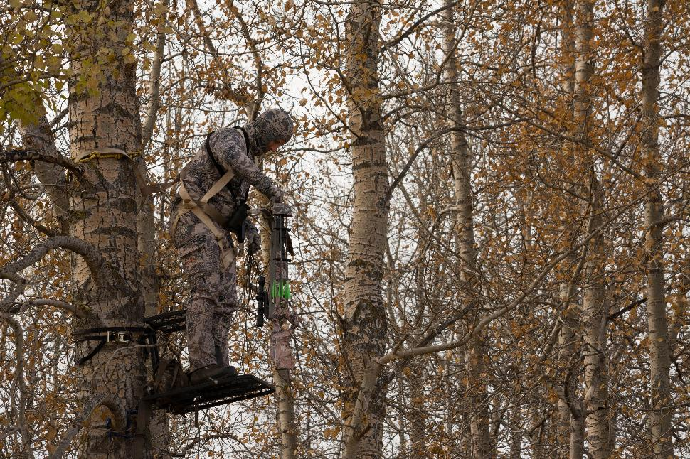 Always use rope to lift your unenergized crossbow into a treestand and then span it. Credit: Gord Nuttall.