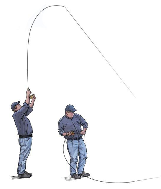 Credit: Sage. Instead of holding the fly rod above your head, apply side pressure to fight fish.
