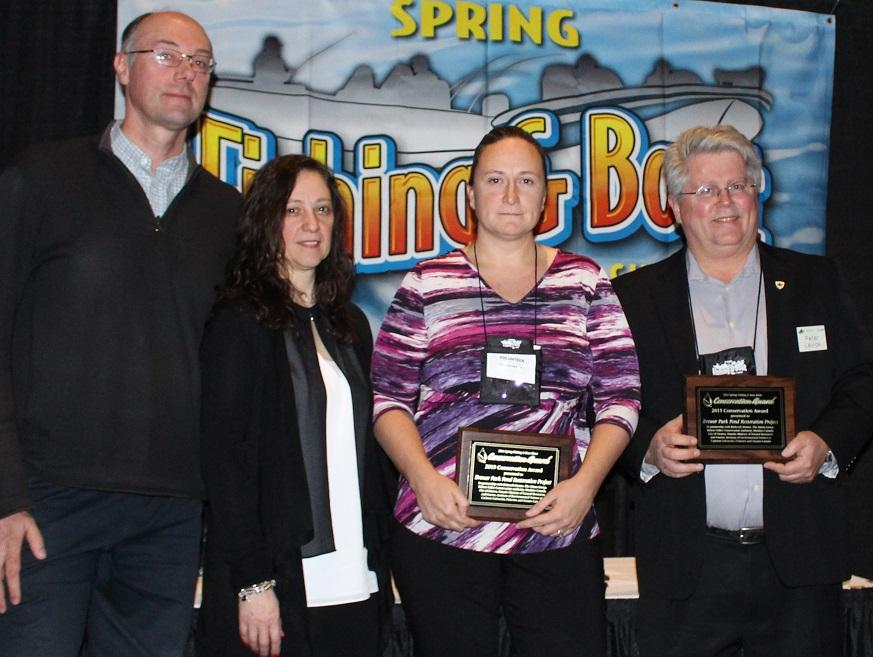 From left to right: Chris Ellingwood, Niblett Environmental Associates Inc.; Vita Palotta, Spring Fishing and Boat Show; Jennifer Lamoureux, RVCA; Peter Levick, Muskies Canada. Credit: Outdoor Canada