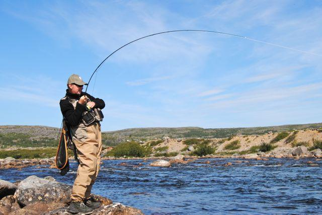 The author tackles a brook trout on northern Quebec's Lagrevé River