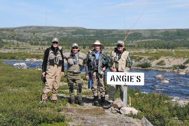 (Left to right) The author, Alisdair Mair, Donald Thom, and Kansas angler George Miller at Angie's Pool on the Lagrevé.