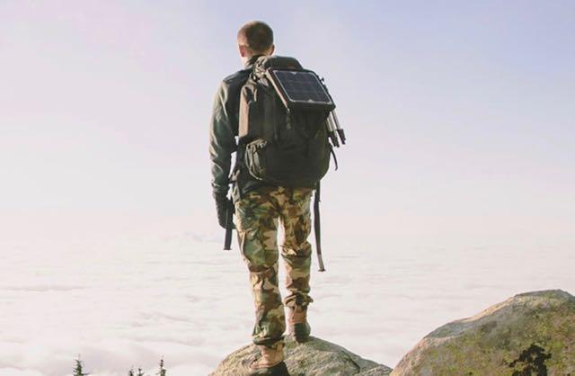 Hunter wearing a backpack