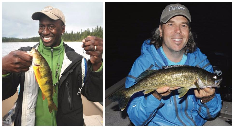 Wes' greedy perch; the author with a walleye. Credit: Scott Gardner.