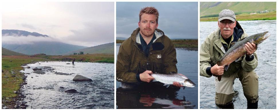 Credit: Ken Bailey. (Left to right) The idyllic Svartá River, Lax–Á's Jóhann Ólafsson, and the author show off Atlantic salmon.