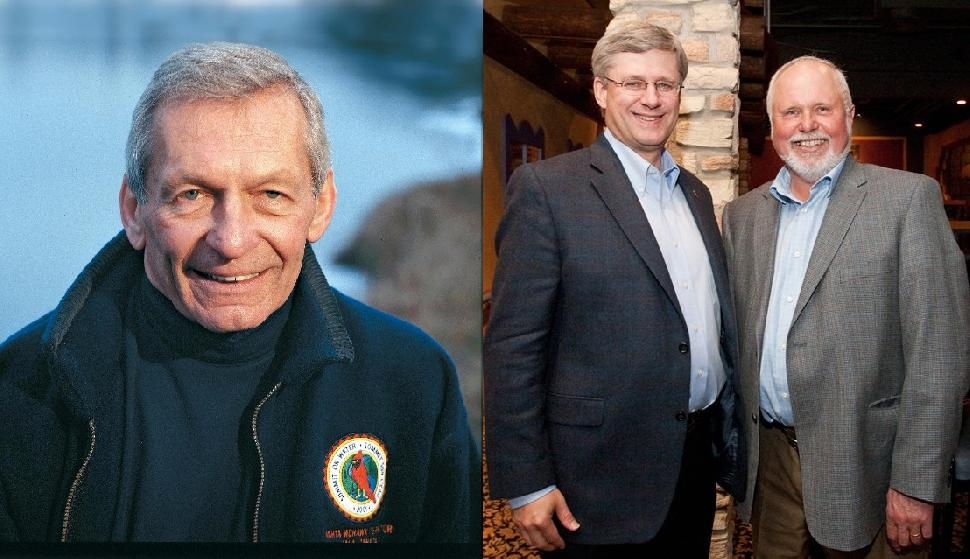 At odds: Scientist David Schindler (left) and MP Robert Sopuck with former PM Stephen Harper.