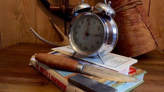 Credit: Lorain Ebbit-Rideout. A hunter's necessary nemesis, the alarm clock.
