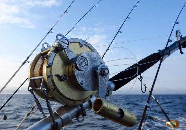 A tuna reel sits idle. Credit: Patrick Walsh.