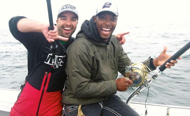 Dan Miguel and Gerald Sensabaugh enjoy a fleeting moment of success before the team's first fish slips the hook. Credit: Patrick Walsh.
