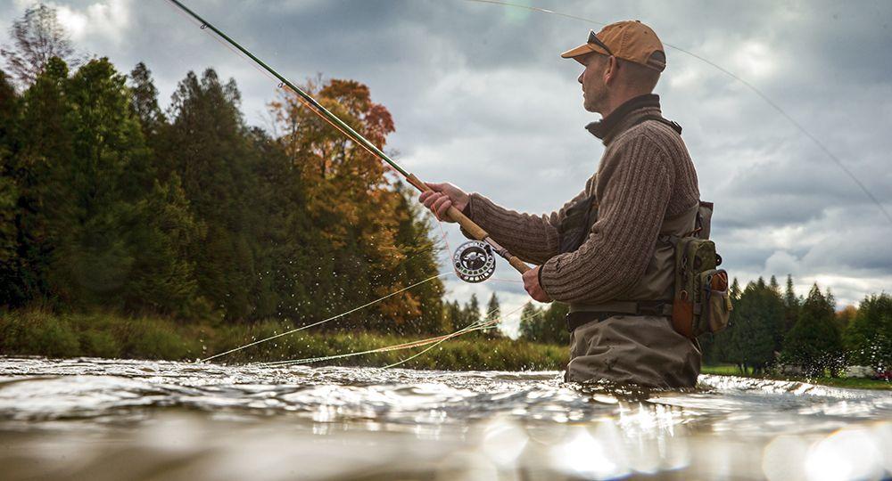 Fisherman wading