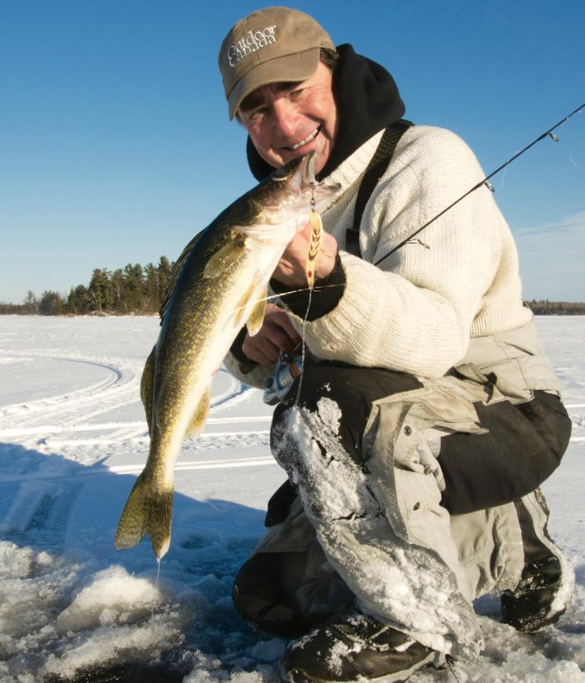 Look for first-ice fish in the same place you left them in late fall. Credit: Gord Pyzer.